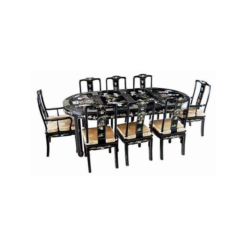 table salle manger chinoise laqu e avec chaises et. Black Bedroom Furniture Sets. Home Design Ideas