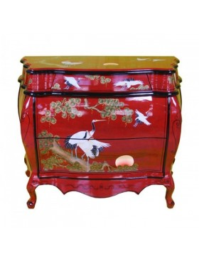 Commode laquée chinoise - meuble chinois laqué