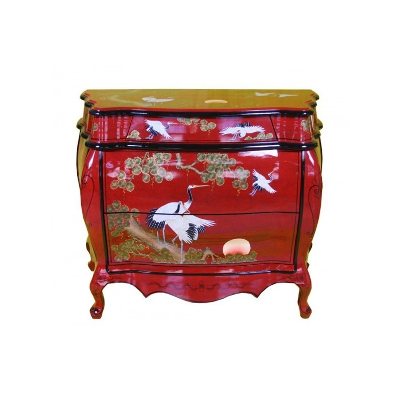 Commode chinoise laquée rouge  meuble chinois laqué