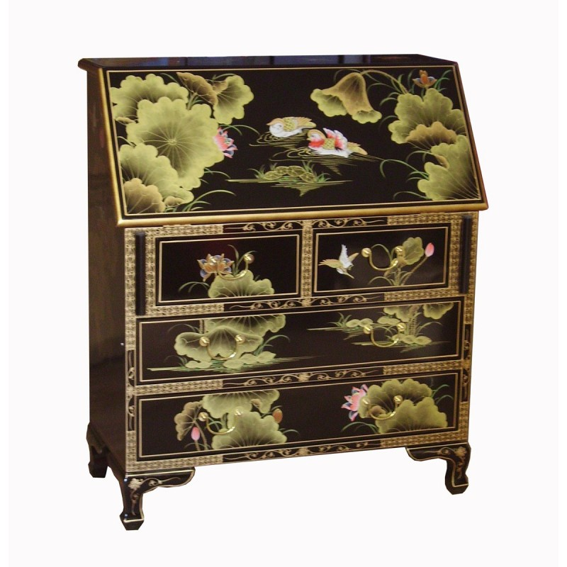 secr taire avec abattant chinois laqu meuble chinois laqu. Black Bedroom Furniture Sets. Home Design Ideas