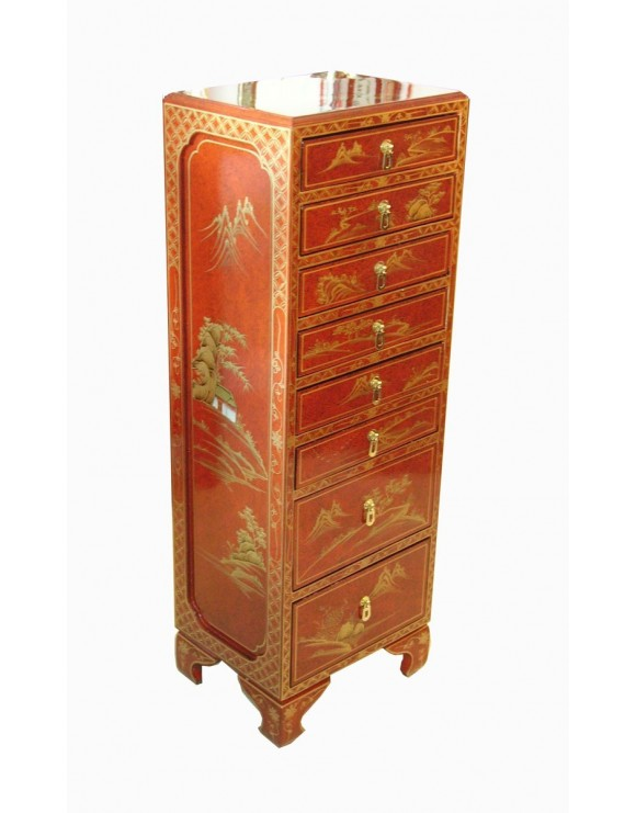 Colonne chinoise 8 tiroirs meuble chinois laqu for Soldes meubles chinois