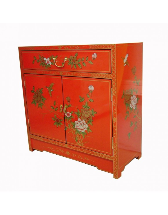 Buffet chinois laqu rouge meuble chinois laqu for Meuble buffet chinois