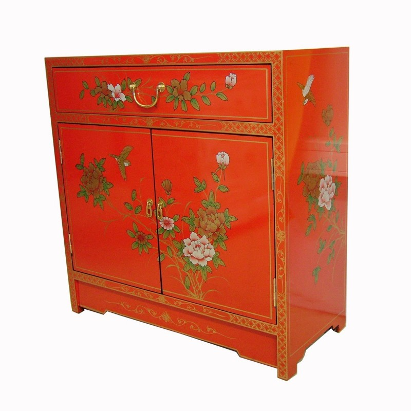 Buffet chinois laqu rouge meuble chinois laqu for Meuble chinois laque