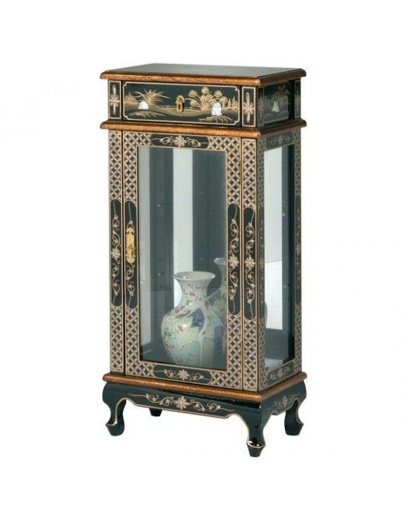 Vitrine argentier laquée chinoise - meuble chinois laqué