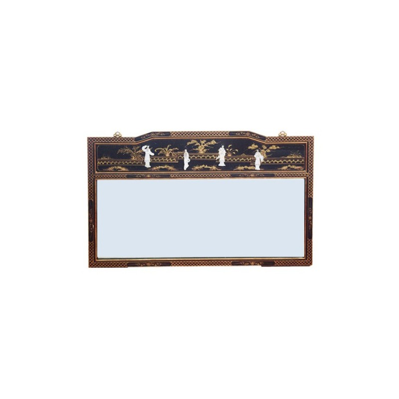 Miroir chinois laqu horizontal rectangulaire for Miroir horizontal blanc