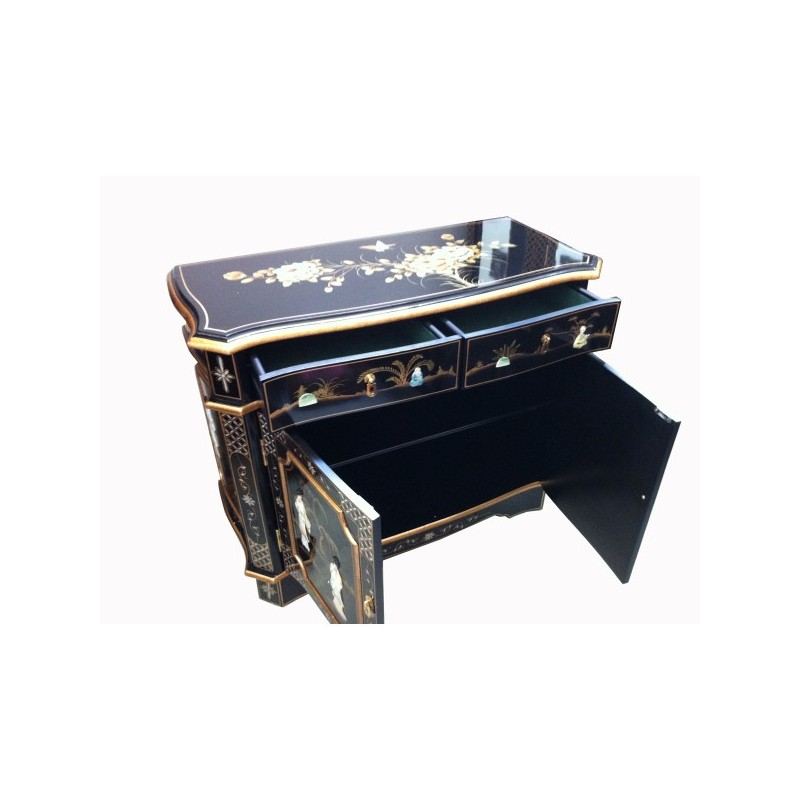 Buffet chinois laqu teint more dor incrust nacre for Buffet chinois meuble