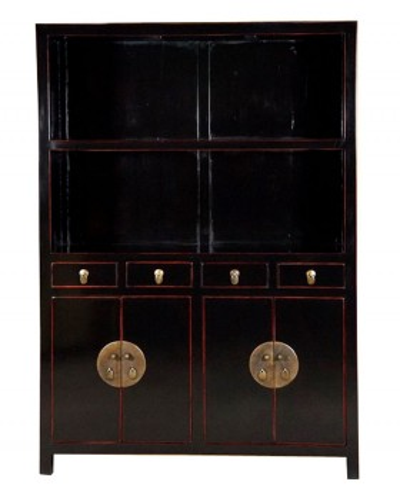 Bibliothèque chinoise, vaisselier noir
