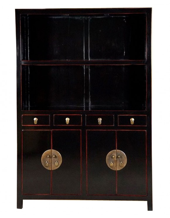 biblioth que chinoise vaisselier noir. Black Bedroom Furniture Sets. Home Design Ideas