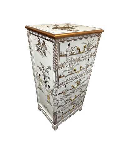 Buffet chinois pagode rouge avec longeron noir