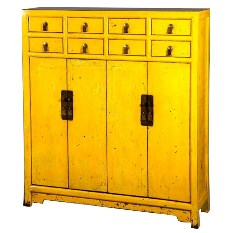 bahut chinois 8 tiroirs 4 portes jaune. Black Bedroom Furniture Sets. Home Design Ideas