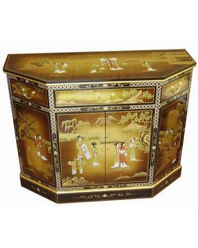 Buffet chinois temple 4 portes 4 tiroirs