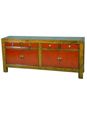 Buffet chinois brun et rouge