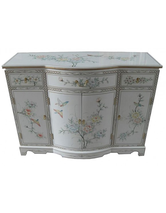 Buffet chinois laqu blanc meuble chinois laqu for Meuble buffet chinois