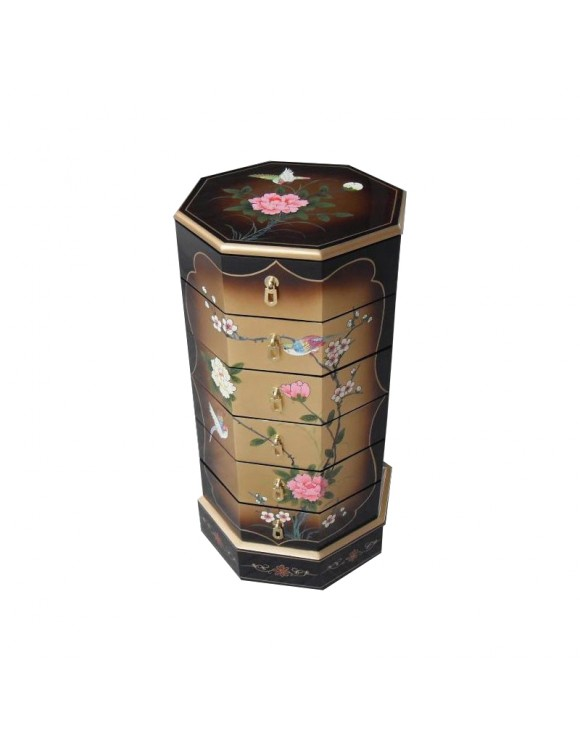 Colonne chinoise laqu e 6 tiroirs meuble chinois laqu for Soldes meubles chinois