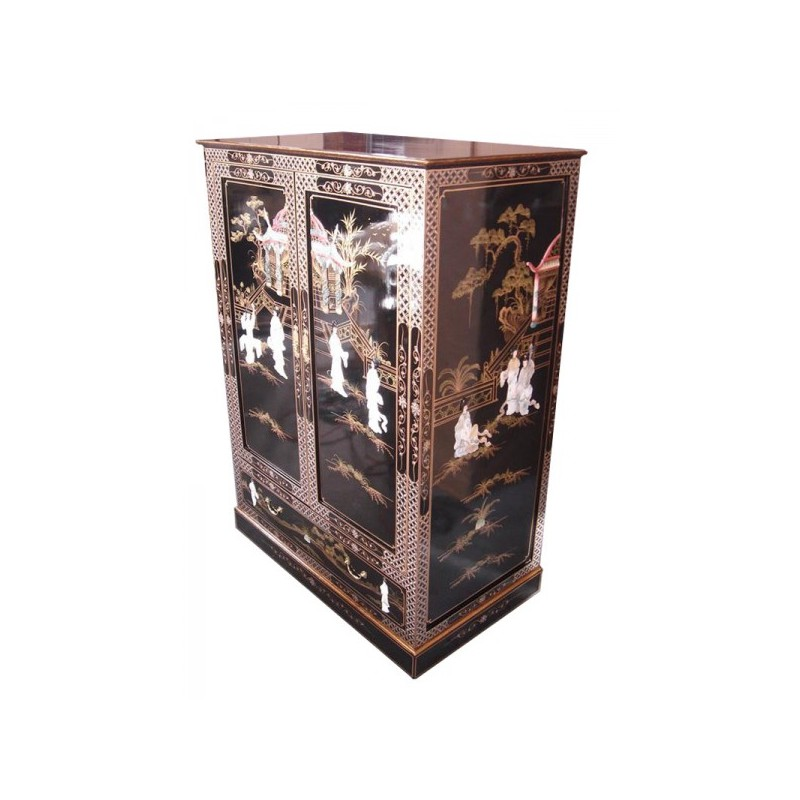 meuble tv chinois laqu portes coulissantes. Black Bedroom Furniture Sets. Home Design Ideas