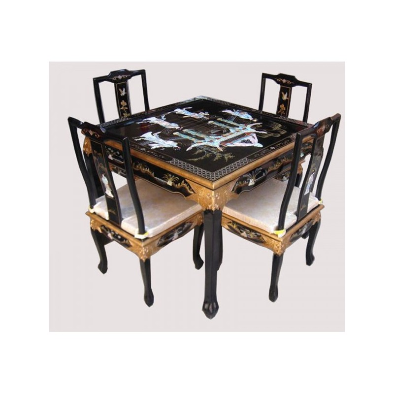 table salle manger chinoise laqu e carr e. Black Bedroom Furniture Sets. Home Design Ideas