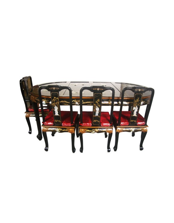 Table laquée chinoise avec 8 chaises