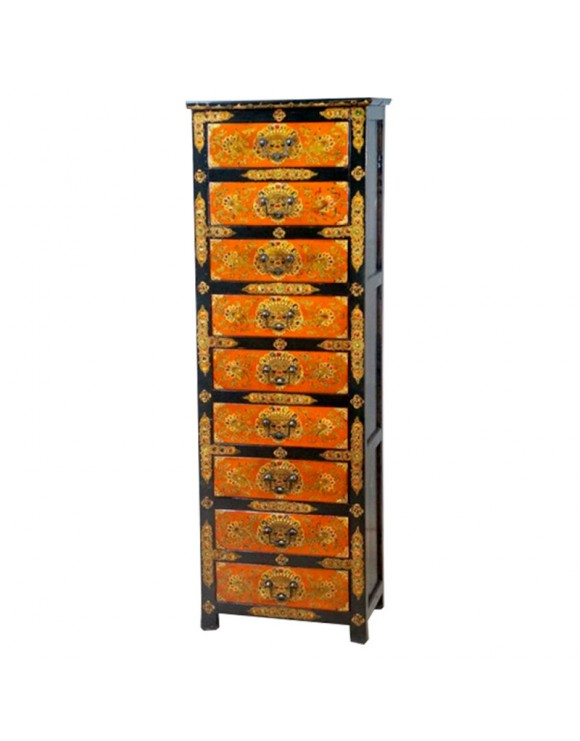 commode tib taine 9 tiroirs noire et orange. Black Bedroom Furniture Sets. Home Design Ideas