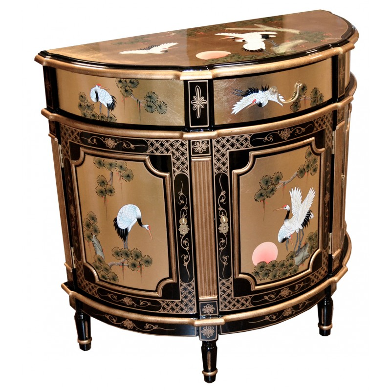 meuble chinois d 39 entr e laqu demi lune meuble chinois laqu. Black Bedroom Furniture Sets. Home Design Ideas