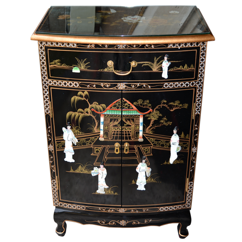 meuble d 39 entr e laqu incrust de pierres dures meuble chinois laqu. Black Bedroom Furniture Sets. Home Design Ideas