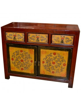 Buffet chinois rouge et jaune