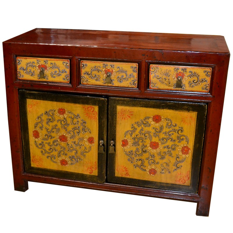 buffet chinois rouge et jaune. Black Bedroom Furniture Sets. Home Design Ideas