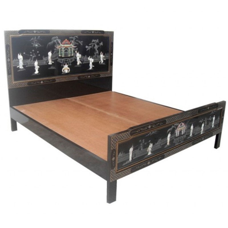 lit chinois laqu 140x200. Black Bedroom Furniture Sets. Home Design Ideas