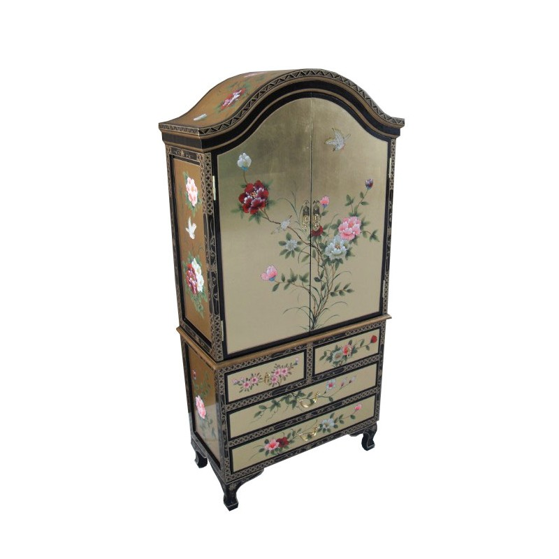 armoire chinoise laqu e 4 tiroirs et 2 portes. Black Bedroom Furniture Sets. Home Design Ideas