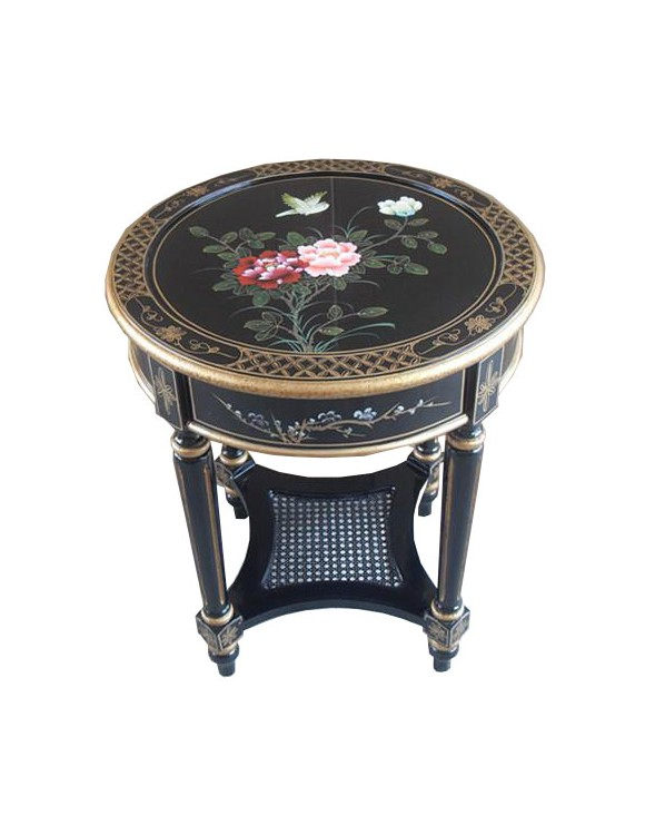 Console chinoise laquée ronde 61 cm