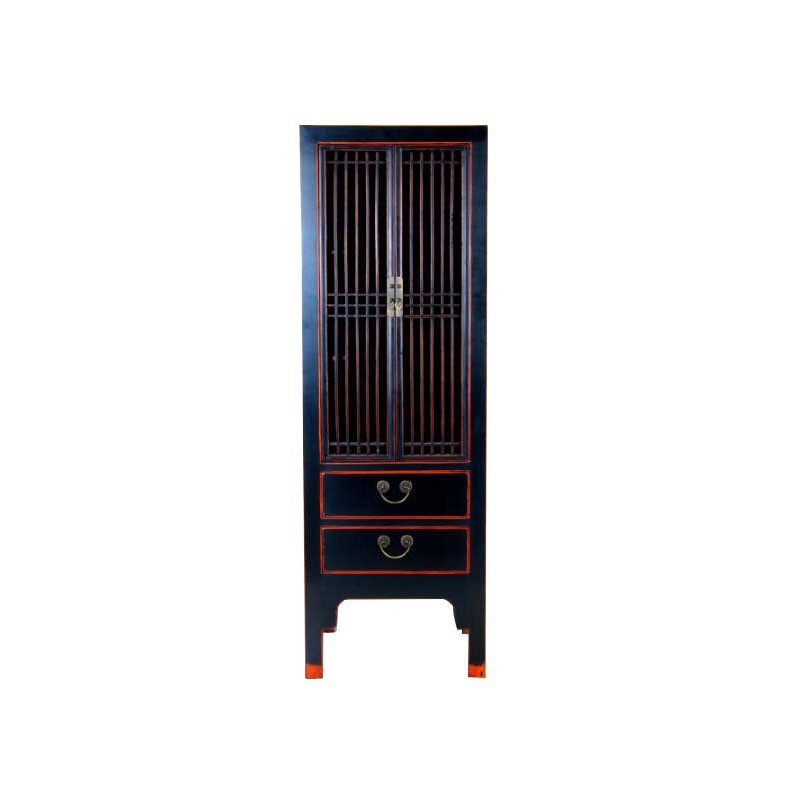 armoire chinoise noire rechampissage rouge h185cm. Black Bedroom Furniture Sets. Home Design Ideas