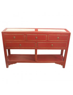 Console chinoise rouge 5 tiroirs