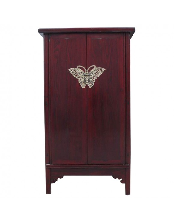 armoire chinoise rouge fonc e ferrure papillon. Black Bedroom Furniture Sets. Home Design Ideas