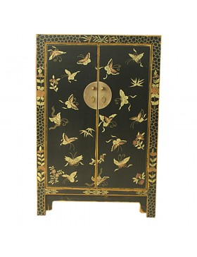armoire chinoise noire papillon et fleurs. Black Bedroom Furniture Sets. Home Design Ideas