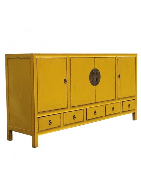 buffet chinois jaune 5 tiroirs. Black Bedroom Furniture Sets. Home Design Ideas