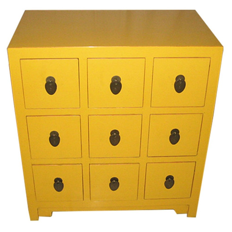 commode chinoise jaune 9 tiroirs. Black Bedroom Furniture Sets. Home Design Ideas