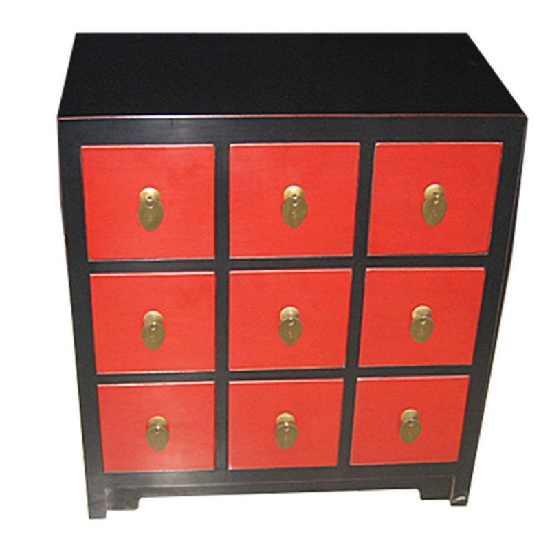commode chinoise rouge et noire 9 tiroirs. Black Bedroom Furniture Sets. Home Design Ideas