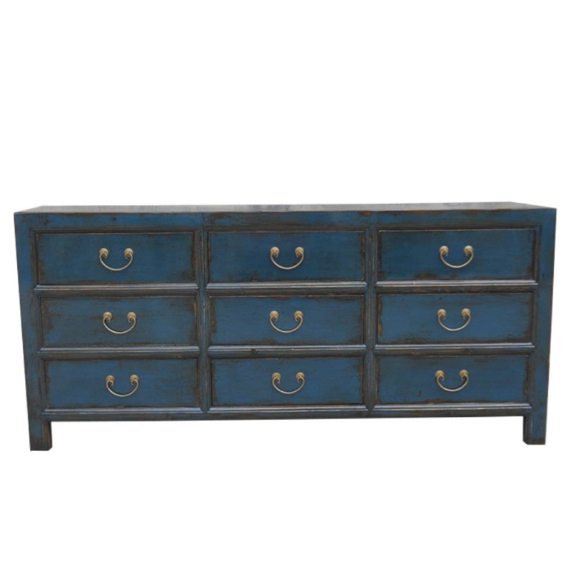 commode chinoise bleue 9 tiroirs. Black Bedroom Furniture Sets. Home Design Ideas