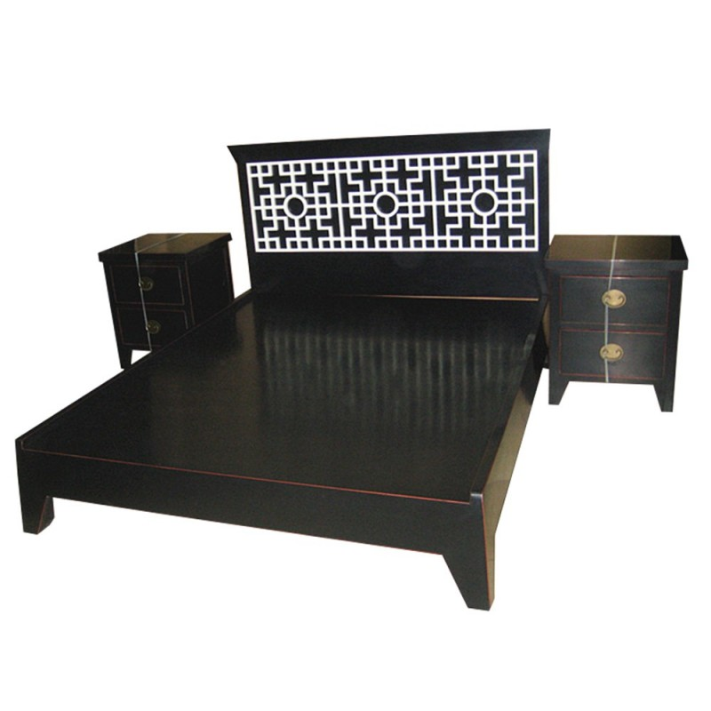 lit chinois 2 personnes avec 2 chevets noir. Black Bedroom Furniture Sets. Home Design Ideas