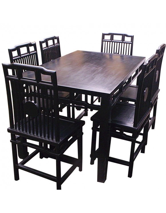 table chinoise noire en orme et 6 chaises orme. Black Bedroom Furniture Sets. Home Design Ideas