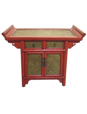 Meuble d'appoint chinois temple en rotin