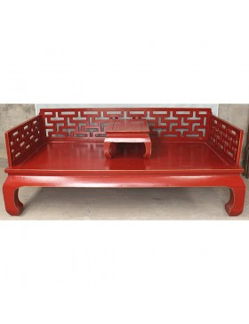 canap lit chinois rouge 1 personne avec table basse. Black Bedroom Furniture Sets. Home Design Ideas