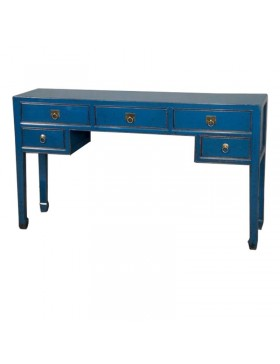 Console chinoise bleue 5 tiroirs