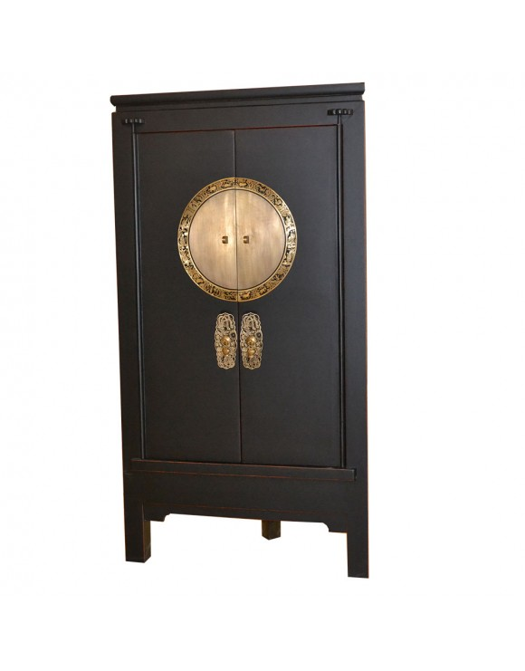 armoire d 39 angle noire en orme. Black Bedroom Furniture Sets. Home Design Ideas