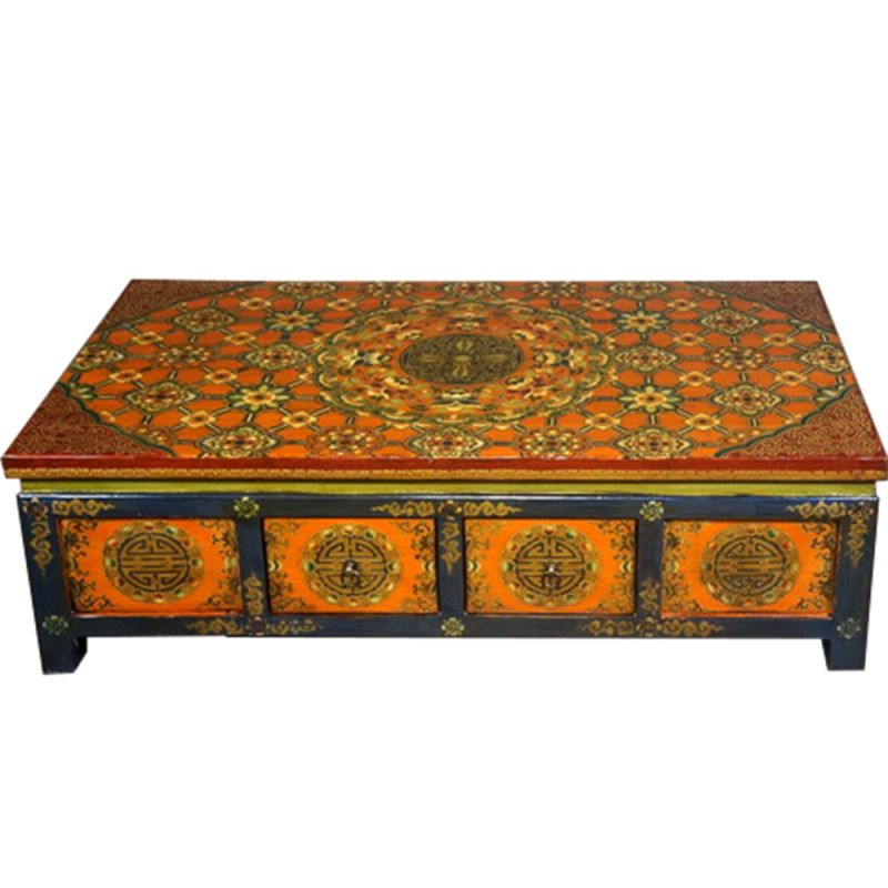 table basse tib taine 8t bleue et rouge motifs floraux. Black Bedroom Furniture Sets. Home Design Ideas