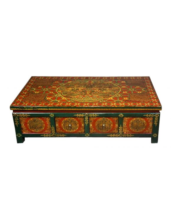table basse tib taine 8t verte et rouge motifs floraux. Black Bedroom Furniture Sets. Home Design Ideas