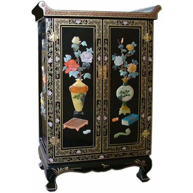 armoire chinoise laqu e temple noire avec incrustations 2 portes h113cm. Black Bedroom Furniture Sets. Home Design Ideas