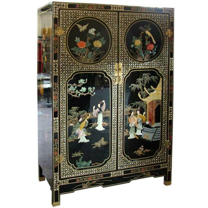 armoire chinoise laqu e 2 portes avec incrustations h120cm. Black Bedroom Furniture Sets. Home Design Ideas