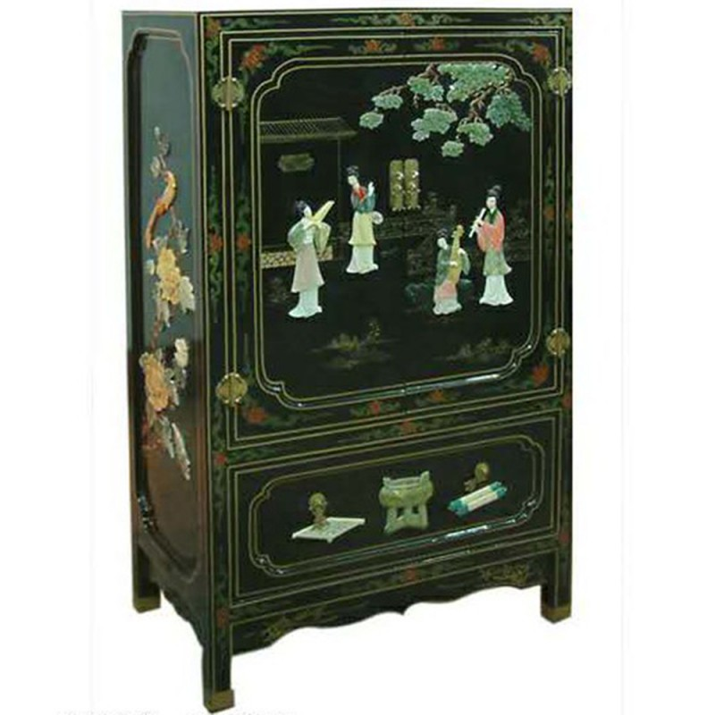 armoire chinoise laqu e noire avec incrustations 1 tiroir 2 portes h112cm. Black Bedroom Furniture Sets. Home Design Ideas