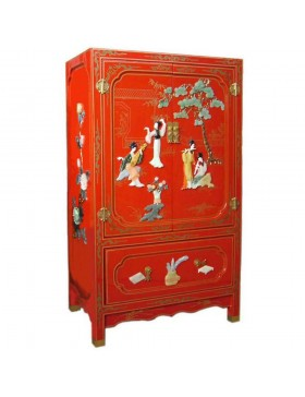 armoire chinoise laqu e rouge avec incrustations 1 tiroir 2 portes h112cm. Black Bedroom Furniture Sets. Home Design Ideas