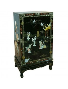 armoire chinoise laqu e noire avec incrustations 2 portes. Black Bedroom Furniture Sets. Home Design Ideas